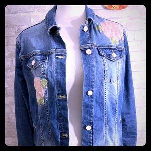 Lularoe Denim Jacket with Floral Design LG